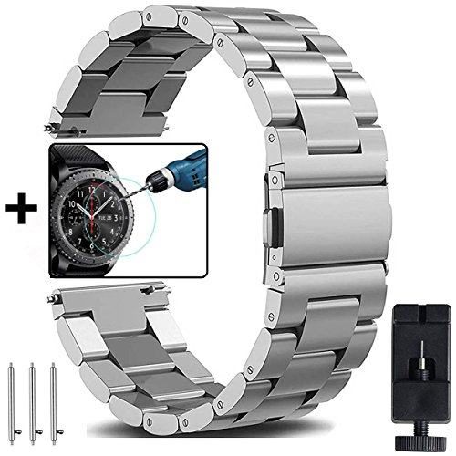 OTOPO Galaxy Watch 46mm Armband & Gear S3 Frontier/Classic Armband Frauen Männer, 22mm Metallarmband Armband Edelstahl Uhrenarmband Ersatz für Samsung Galaxy Watch 46mm Smart Watch - Metall Silber (Leder Band Uhr 22)