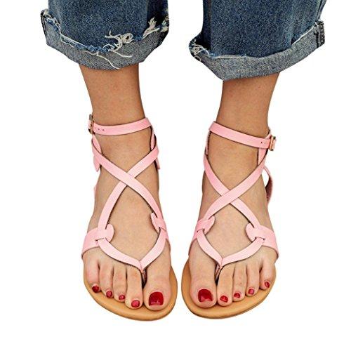 VJGOAL Damen Sandalen, Damen Mode Round Toe Atmungsaktive Lace-up Strand Sandalen Rom Casual Flache Sommerschuhe (42 EU, Pink)
