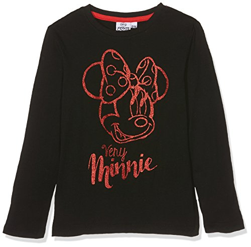Leomil Fashion Mädchen Langarmshirt LS T-Shirt, Schwarz (Black Blk), 128 (Herstellergröße: 8) (T-shirt Blk-schwarz)