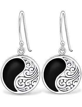 EYS JEWELRY Damen-Ohrhänger Yin & Yang 925 Sterling Silber 25 x 13 mm schwarz Ohrringe