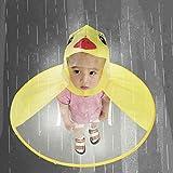 Hansee Regenmantel Kinder, Netter Regen-Mantel UFO-Kind-Regenschirm-Hut-Magische Hände Geben Regenmantel Frei (Gelb, L)