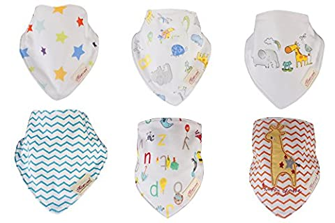 Bandana Bibs - for Drools and Feeding - Organic Cotton/Waterproof Fleece - Set of 6 Drooling Bib with Snaps - Cute Baby Shower Gift Set for Infants Toddlers(Unisex group 001)