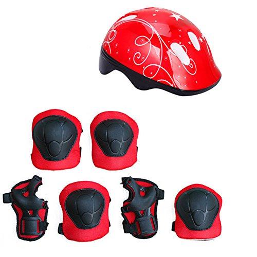 LNIMIKIY Kinder Fahrradhelm und Polster Set, Knieschoner, Ellenbogenschützer und Verstellbarer Helm für Fahrrad, Roller, Skateboard, für Kinder, Jungen und Mädchen, rot