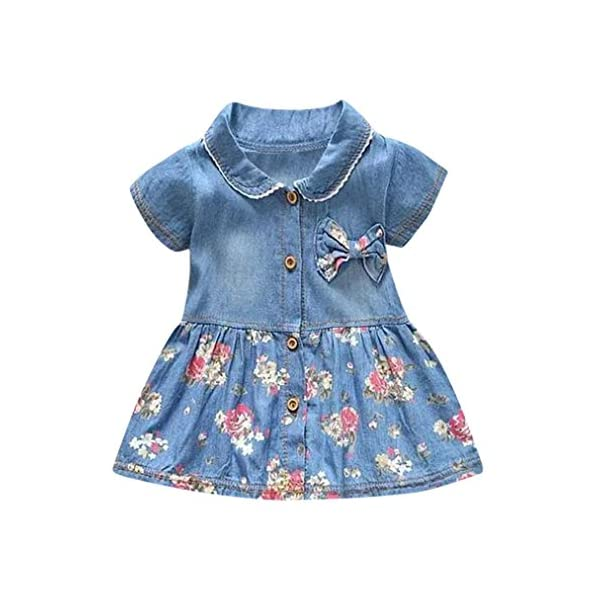 Wanshopw Wanshop® Toddler Baby Girls Floral Print Bowknot Short Sleeve Princess Denim Dress Outfit For 0-7 Years Old