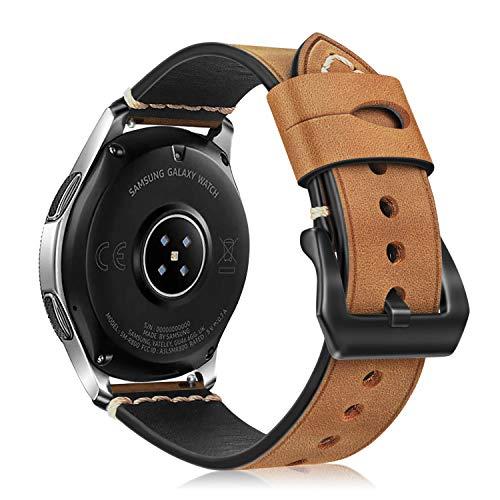 Fintie Armband kompatibel für Galaxy Watch 46mm/ Gear S3 Frontier/Gear S3 Classic/Huawei Watch GT/GT 2 Smart Watch - Premium Uhrarmband aus Echtleder Vintage Ersatzband mit Edelstahlschnalle, Khaki -