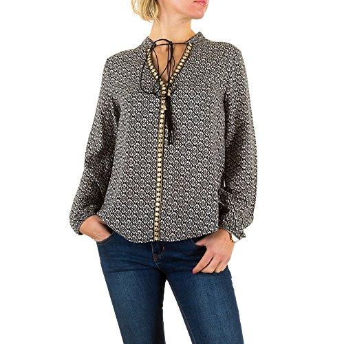 Hippie Print Bluse Für Damen bei Ital-Design Dunkelgrau