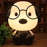 #7: Nyrwana Plastic Dr. Dog Cartoon Led Desk Table Lamp for Living-Room, Bedroom, Children Study Room, 220V (Black, DR.DogDeskLamp)