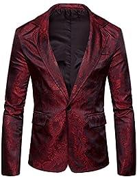 ... Abiti e giacche   Rosso. WHATLEES Whatless Blazer Jacquard Paisley Elegante  Uomo con Bottone Singolo 049e4aa3328