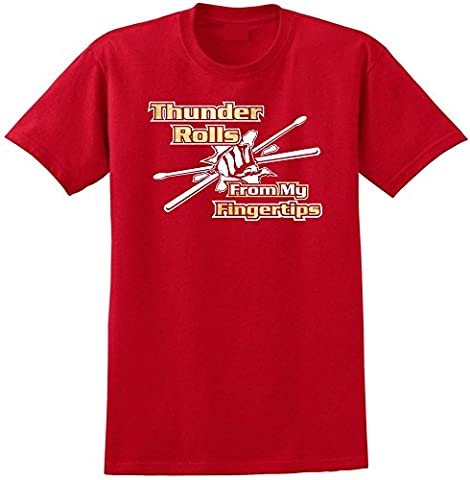 Drum Fist Sticks Thunder Rolls - Red Rouge T Shirt Taille 87cm 36in Small MusicaliTee