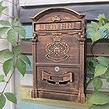 GLJ Europäische Villa Briefkasten Im Freien Wasserdichte Briefkastenwand Kreative Postbox Mit Schloss Vorschlag Box Retro Mailbox Briefkasten