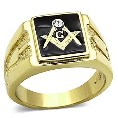 Yourjewellerybox Tk1159Pb Mens Signet Ring Stainless 18Kge Masonic Simulated Diamond Gen Onyx Size W