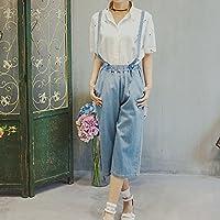 Bretelle dei jeans denim dei jeans denim camici di colore solido pantaloni casual pantaloni casual