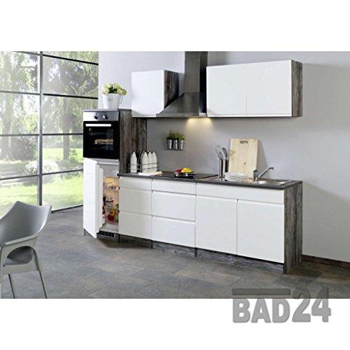 Küchenzeile 270 Cliff inkl. E-Geräte, Grifflos, Hochglanz weiss/Eiche-Vintage