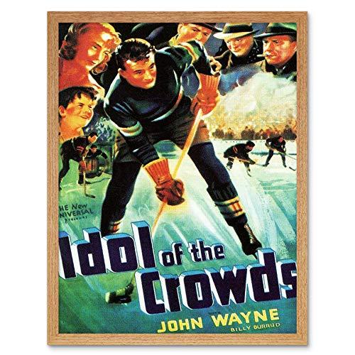 ie Film Idol Crowds John Wayne Duke Ice Hockey Drama Art Print Framed Poster Wall Decor Kunstdruck Poster Wand-Dekor-12X16 Zoll ()