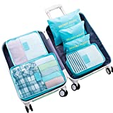 WOWTOY 6PCS Packing Cubes Value Set for Travel Luggage Organiser Bag Compression Pouches Clothes Suitcase, Light Blue