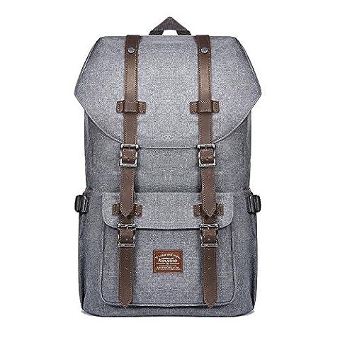 """Laptop Rucksack 17 Zoll Handgepäckrucksack Vintage Backpack Reiserucksack für 15"""" Notebook of 2 Side Pockets für Wandern Reisen Camping (oxford grau)"""