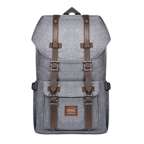 Mochila Unisex de la escuela del ordenador portátil KAUKKO Paquete de ocio de moda para excursiones al aire libre viajes camping (gris)