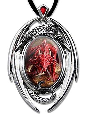 Roter Drache Anhänger Amulett Cabochon mit Halsband Drachenanhänger Schmucksäckchen und Karte 11