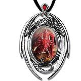 DarkDragon Roter Drache Anhänger Amulett Cabochon mit Halsband Drachenanhänger Schmucksäckchen und Karte 11