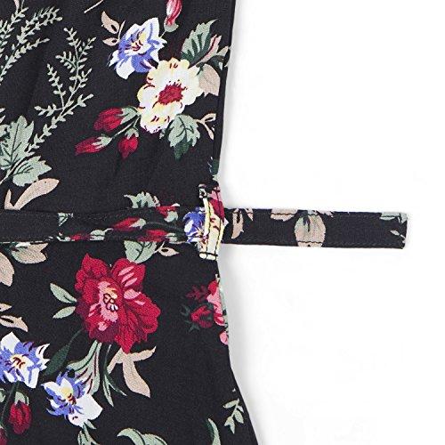 Intimuse Sommerkleid Blumen mit V-Ausschnitt, Damen Kleid mit kurzarm und knielang Mehrfarbig (Blumen Bedruckt 113)