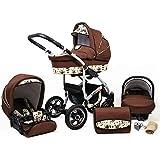 Lux4Kids 3-i-1 kombibarnvagn barnvagn komplett set med bilstol Isofix Larmax brun och ugglor 4-i-1 bilbarnstol + Isofix