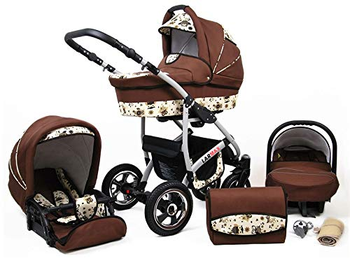 Lux4Kids 3 in 1 Combi pram Pushchair Stroller Complete Set with car seat Isofix Larmax Brown & Owls 4in1 car seat +Isofix Lux4Kids Lux4Kids 4in1 or 3in1 or 2in1 pushchair. You have the choice whether you need a car seat (baby seat certified according to ECE R 44/04 or not). Of course, the Pram is stabil, safe and durable Certificate EN 1888:2004 Of course, the baby Basket has a rocking function when it is removed from the pram. The push handle adapts to your size and fits for everyone 1