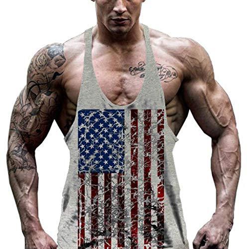Herren Athletic lässig Tank top,T-Shirt Unterhemden, Ärmellos Weste, Muskelshirt,Fitness Shirt Flag Printed Kapuzenshirt Bodybuilding Fitness Gym Sport Hemd Weste -