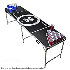 Beer Pong Tisch Set - Audio Table Design - Beer Pong Table inkl. 50 Red Cups, Ballhalter, 6 Bälle und 2 Gratis Bier Pong Racks