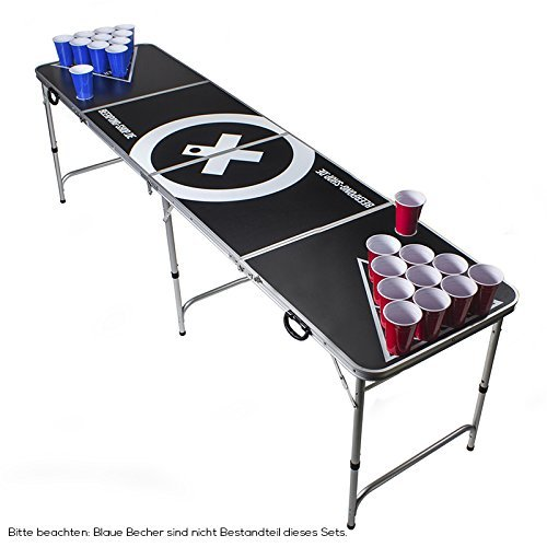 Vor Großen Rack (Beer Pong Tisch Set - Audio Table Design - Beer Pong Table inkl. 50 Red Cups, Ballhalter, 6 Bälle und 2 Gratis Bier Pong Racks)