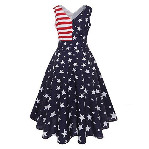 Produp Unabhängigkeitstag Frauen Vintage Sleeveless V Neck USA Flagge Druck Abend Party Prom Swing Dress -
