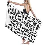 ocaohuahuaba Asciugamani da Spiaggia per Donna Uomo Modello Gatto Asciugamani da Bagno Coperta da Piscina Multiuso ad Asciugatura Rapida Grande 31 x 51 Pollici