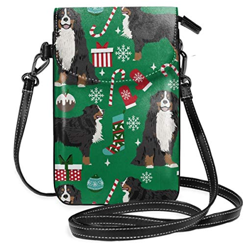 Mountain Dog Breed Christmas Stockings Pet Lightweight Leather Phone Purse, Small Crossbody Bag Mini Cell Phone Pouch Shoulder Bag For Women ()