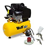 Wolf Air Sioux 24 Litre, 2.5HP Induction Motor, 9.6CFM, 230v, MWP 116psi Air Compressor Complete with Complete with 5 Piece Air Tool Kit which Includes: 5m Air Hose, Gravity Feed Spray Gun, Tyre Inflator, Long Nozzle Sprayer / Degreasing Gun and Blow