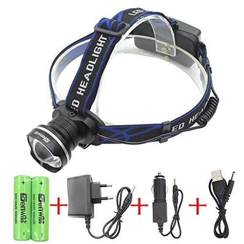 Preisvergleich Produktbild WolfWay Zoomable LED Kopflampe 3000 Lumen 3 Mode Stirnlampe Hands Arbeitsleuchte Outdoor Camping Torch Taschenlampe mit verstellbaren Strap Licht enthalten 2 * 18650 4200mAh Akkus wasserdicht-Schwarz