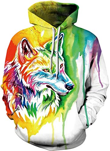 AureQet Herren Unisex Realistische 3D Galaxy Kapuzen Pullover Digitaldruck Sweatshirt Weihnachten Langarm Winter Hoodie Bunt Wolf