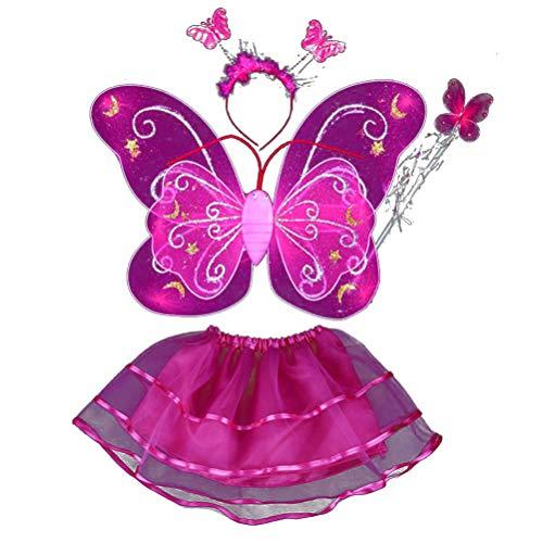 Amosfun 4-teiliges Mädchen-Kostüm-Set mit Feenflügeln, Schmetterlings-Kostüm, Party-Kostüm-Set mit Flügeln, Tutu Halo für Kleid und Rollenspiele (Rosa) (Halo-kostüme Mädchen Für)