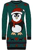 Damen Schneemann Weihnachten Weihnachtsbaum Strickkleid Pullover Langer Pullover Top - Blaugrün - Neu Vollen Ärmeln Schneeflocke, 38/40