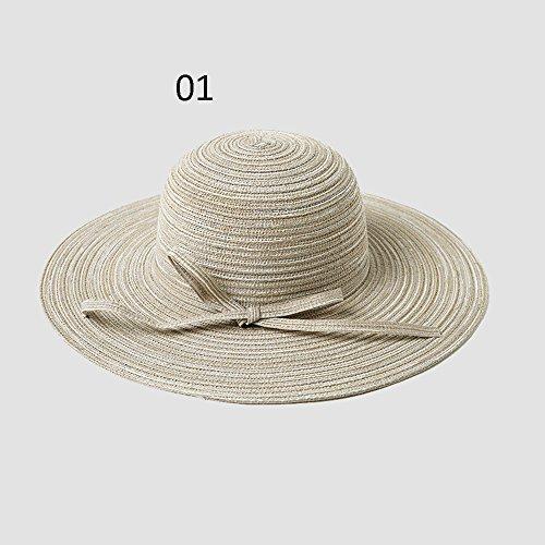 qz Chapeau de Soleil Chapeau de dames Summer Seaside Sunbath Hood Capuche de plage pliable ( Couleur : #01 ) #01