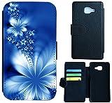 Samsung Galaxy J3 (2016) J310 Hülle Flip Cover Case Schutzhülle für Galaxy J3 Modell 2016 von Samsung Design Wico (1020 Abstract Blume Blau)