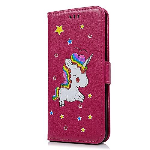MAXFE.CO Schutzhülle Tasche Case für iPhone 6 Plus/6S Plus PU Leder Flip Tasche Cover Prägung Muster Einhorn im Ständer Book Case / Kartenfach Blau Rose Rot