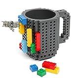 Bausteintasse, Kaffeetasse, kreative Tasse mit Bausteinen für Kaffee, Tee und mehr, außergewöhnliches Geschenk grau