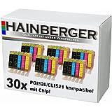 Hainberger Lot de 30 cartouches avec jauge pour imprimante Canon Pixma IP3600 IP4600 MP540 MP620 MP630 MP980 MP 540 620 630 980 IP 3600 4600