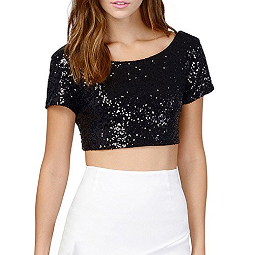 ROPALIA Damen Sequins Crop Top Sommer Kurzarm T-Shirts Blusen Black