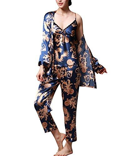 Ensemble pyjama Femme Manches Longues Pyjama de Soie Femme de Confort Trois-pièces Bleu Royal Medium