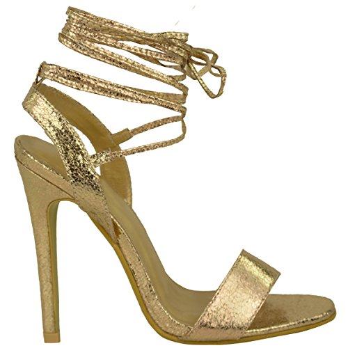 Neuves Pour Femmes Talon Haut Barely There À Lanières Lacets Nœud Sandales Chaussures Pointure Or Froissé