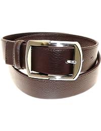 Pour des hommes cuir brun véritable ceinture Dans Gift Box - N25