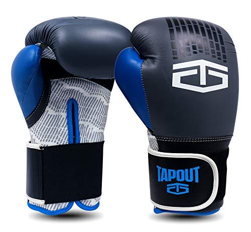 Tapout Atomic Boxhandschuhe aus Dura-Leder für Kinder und Erwachsene Größe 4 Unzen - 16 Unzen ** freie Handwickel ** ... (Grau Blau, 4 oz)