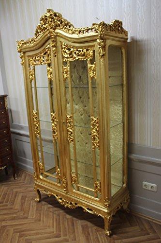 LouisXV Barock Vitrine Rokoko Antik Stil Schrank Louis XV MkVi0121Go Gold antik Stil Massivholz....