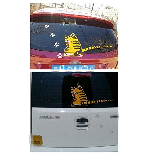 SwirlColor Gelbe Katze Auto-Heck-Scheibenwischer-Abziehbild-Aufkleber
