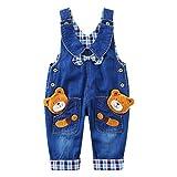acme Kinder Latzhose Overall Jungen Mädchen blau Hosen mit Tiere Pattern